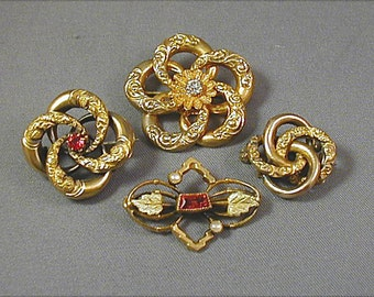 Four Victorian Mini Pins Love Knots Seed Pearls