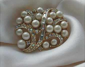 Coro Aurora Rhinestone and Pearl Brooch