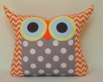 Large size /Home decor/plush owl pillow/Grey/dots /chevron/Polyfil Stuffed Darling Owl Pillow/chevron/for boy for her