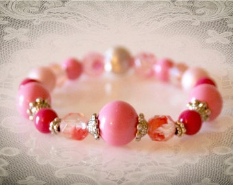 Pink Beaded Stretch Bracelet With Vintage Beads