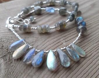 High Flash Labradorite Faceted Gemstone and Sterling Silver Bracelet