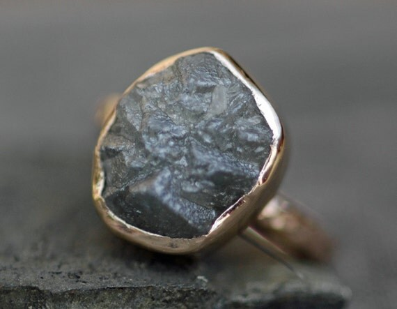 Huge Silver Raw Diamond Engagement Ring in Recycled 18k Gold- Custom Made Rough Uncut Stone Ring