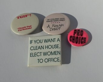 Vintage Femme Power Pins Feminist Button Collection 1990's