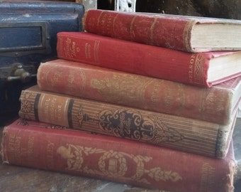 Beautiful Red Antique Victorian Book Collection from Rustysecrets