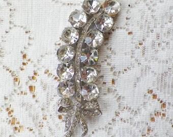 Vintage Long Rhinestone Brooch / Pin / Broach, Clear Rhinestones, Bow, Bride / Bridal / Wedding / Evening