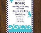 I Do BBQ Rehearsal Dinner Invitation, Rehearsal Dinner Invitation, Seahorse Invitation, Nautical Invitation, Beach Theme - Printable