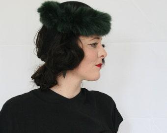 Vintage style tilt hat - 40's style tilt hat - faux fur trimmed hat - winter glamour hat