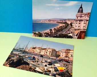 Vintage Postcards - x2 French Postcards - Cannes - La Côte d'Azur - French Riviera