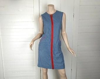 60s Mod Mini Dress in Blue Denim & Red- 1960s Shift Dress- Medium