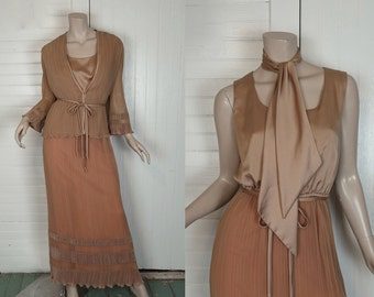 70s Taupe Maxi Dress in Fine Pleated Chiffon- Studio 54 Jacket & Formal Dress- Small- Liza Minelli