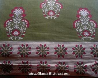 Block Print Floral Saree Fabric, Sari Fabric By The Yard, Indian Printed Cotton, Henna Print Fabric, Block Print Fabrics, Unique Fabrics