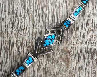Turquoise Inlay Bracelet Vintage Silver