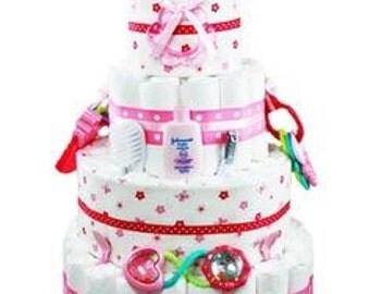 Girl diaper cakes, girl gift basket,large baby shower diaper cake, girl baby shower centerpiece, Pink baby shower diaper cake, 4 tier cake