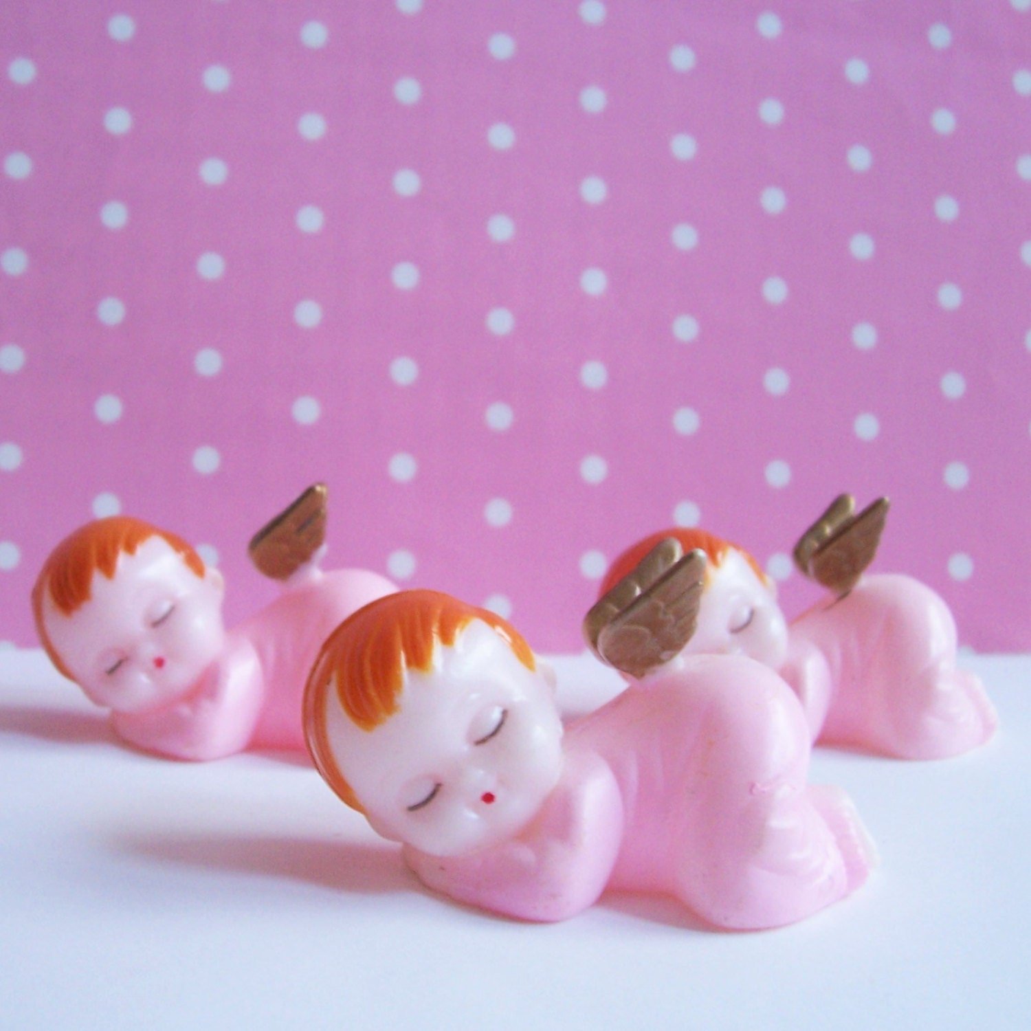 Three Baby Girl Cake Toppers Sleeping Angels