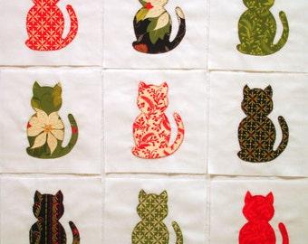 Christmas Cats Appliqued Quilt Blocks