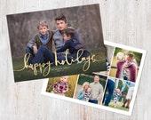 Photo Christmas Card Template: Happy Holidays Script Custom Photo Holiday Card Printable