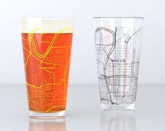 Iowa City, IA - University of Iowa - College Town Pint Map Glasses