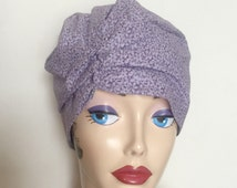 Cotton Chemo Hat Soft Cotton Turban Flapper Style Turban Purple Floral Hat Machine Washable Hat Size S Ready to Ship Handmade in the USA