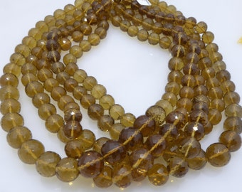 whiskey quartz facetted round 10-12mm