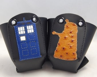 Leather Toe Guards with TARDIS and Light Brown Dalek