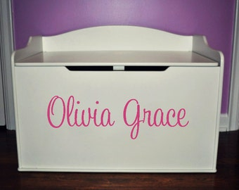 Toy Box Name Decal, Toy Box Name Sticker, Vinyl Decals for Toy Box, Name Decal, Nursery Wall Decals, Girls Wall Decals