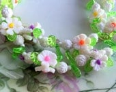 Vintage Plastic Beaded Flower necklace Cluster beads Long Yellow White Green
