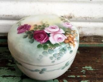 Antique Porcelain  Hand Painted Trinket Box Vanity Box Shabby Roses