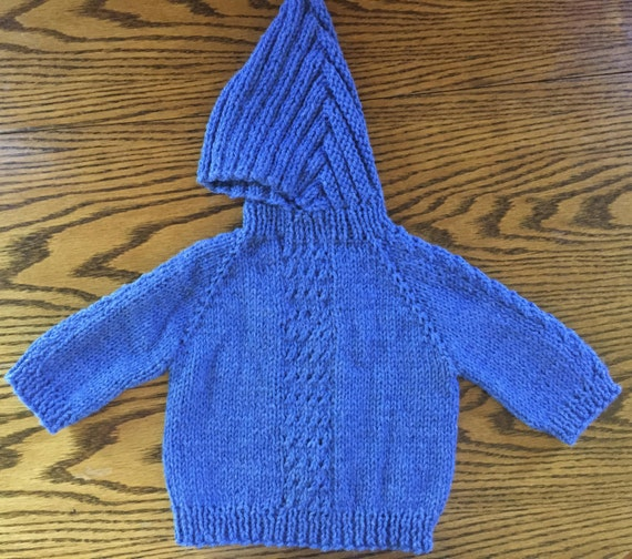 Baby Sweater Hand Knit Hooded Back Zip Hoodie 0 by knittingbydiane