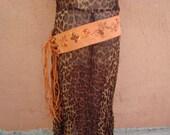 1960s - 1970s Boho Hippy Vintage Pumpkin Orange Embroidered Suede Fringe Belt