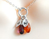 Initial Necklace, Birthstone necklace, Mothers necklace, Monogram Necklace