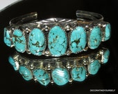 Native American Turquoise Sterling Silver Cuff Bracelet Artist Signed Laura T Dobbs & Sons