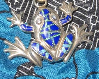 Zuni Frog Lapis Manmade Opal Sterling Silver Pendant Native American