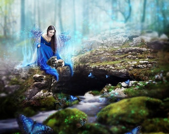Fantasy Woodland Blue Butterfly Fairy Archive Quality Giclée Print | Unframed | Made to Order