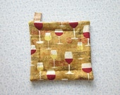 brown  glasses of wine hand quilted insulated potholder with loop to hang