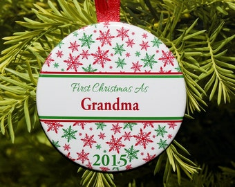 First Christmas As Grandma Ornament - Red Green Snowflakes - C093