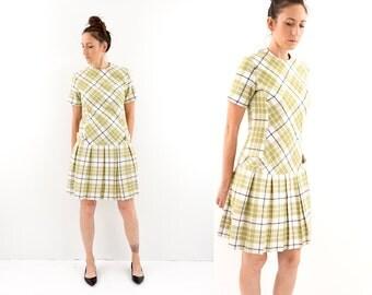 vintage 60s mod LIME green PLAID drop waist pleated dress M