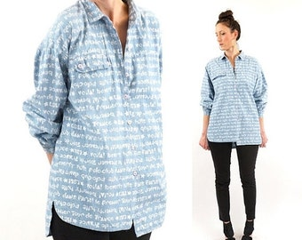 FLASH SALE vintage 80s CHAMBRAY graphic Text oversized blouse S-L