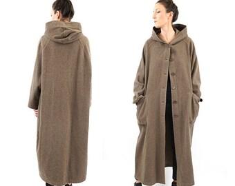 FLASH SALE vintage BENETTON wool Minimalist long Hooded coat M-L