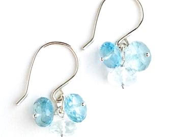 Ocean Blue Sea Green Gemstone Earrings. Natural Light Blue Apatite Gemstone Earrings. Baby Blue Earrings