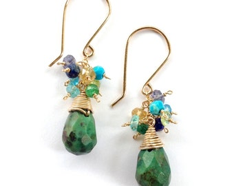 Green Turquoise and Blue Turquoise Earrings. African Turquoise, Emerald, Peridot, Citrine, Lapis, Aquamarine, Iolite, Topaz Gold Earrings