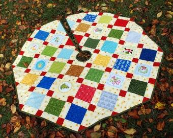 CIJ Large Quilted Christmas Tree Skirt 44 in diameter Simply Joyful featuring Nancy Halvorsen fabrics Quiltsy Handmade
