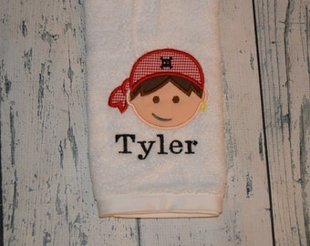 PERSONALIZED Pirate Hand Towel Monogrammed or you choose design