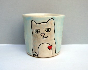 Ceramic Kitty Cup, Small, Gray Tabby Cat on Blue and White Ceramic Shot Glass or Shot Cup or Child's Cup, Bar Ware, Animal Pottery
