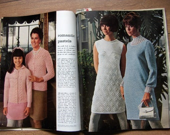 vintage 60s McCalls needlework and crafts knitting crochet patterns dresses sweaters skirts suits men women children hats mitts scarves