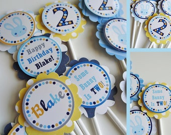 Blue Bunny Birthday Party Cupcake Toppers Fully Assembled Decorations