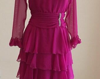 1980s Vintage Semi Formal Dress - Raspberry Fuchsia Chiffon Tiered Ruffle Dress - Rhinestone - Mother of Bride Groom - Wedding - 38 Bust