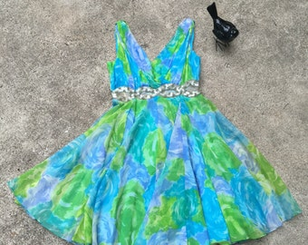 1960s Chiffon Party Dress Blue and Green Floral & Sequins 1960s Mini - MCM Party Dress - Flirty Flouncy Feminine Girly Fun - 32 33 Bust