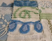 20 Vintage Chenille Squares in Shades of Blue, Green and White
