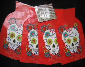 Sugar SKULL mexican calaveras TREAT bags COLORFUL 6-Bags jewelry bags x-mas bags etc gothic collectible decoration