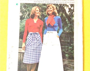 Uncut Butterick 4025 Misses Skirt Wrapped A-line skirt  patch pockets Women's Wrap and Go Skirt  Vintage Sewing Pattern extra small Waist 23